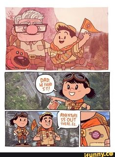 The movie up from pixar is one of the best movies ever created besides anime's but I recommend it! Bd Comics, Cute Comics, Disney Jokes, Disney Cartoons, Disney Facts, Disney Fan Art, Cute Disney, Disney Magic, Walt Disney