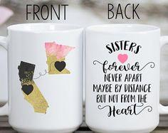 Long Distance Mug, Sister Mug, Home Mug, State Mug, Together Forever Mug, Sisters Mug, Sister Gift, Birthday Gift for Sister, Sister Quote