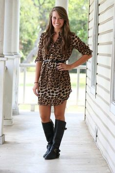 Hazel and Olive leopard shirt dress with belt paired with riding boots. Fall outfit. This would look so cute with leggings and riding boots