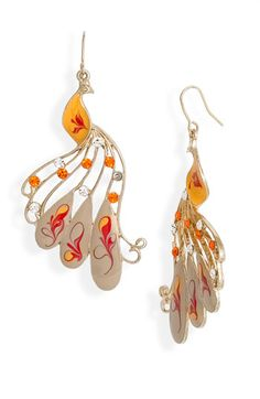 Love these orange and red peacock earring!