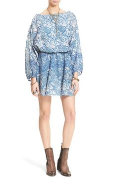 Free People 'Silver Sun' Blouson Minidress available at #Nordstrom
