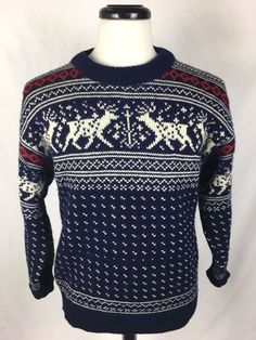 DALE of NORWAY Sweater M Blue WOOL Long Sleeve Men's #DaleOfNorway #Crewneck