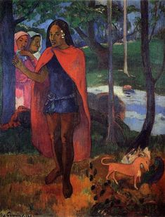 The Sorcerer of Hiva Oa (Marquesan Man in the Red Cape), 1902 by Paul Gauguin, 2nd Tahiti period. Post-Impressionism. portrait