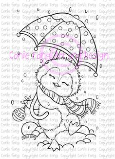 Digital Stamp, Digi Stamp, Dancing in the Snow by Conie Fong, Penguin, Christmas, coloring page