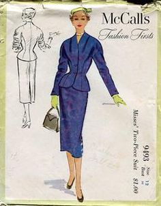 Sewing Patterns,Vintage,Out of Print,Retro,Vogue Simplicity McCall's,Over 7000 - McCall's 9493 Retro 1950's 1953 Fashion Firsts Suit Jacket Skirt