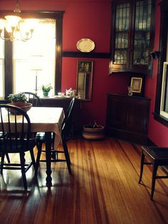 dark wood trimlooks very close to my dr before i painted the walls an earth tone color red does not a comfortable living room make pinterest living - Dining Room Paint Colors Dark Wood Trim