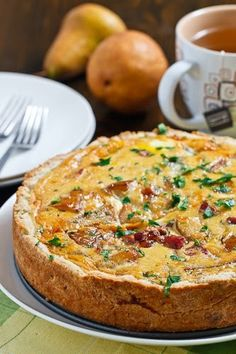 """Caramelized pear and Gorgonzola quiche - Eat Your Books is an indexing website that helps you find & organize your recipes. Click the """"View Complete Recipe"""" link for the original recipe."""