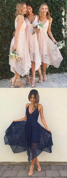 Asymmetrical V-neck Sleeveless Pink Lace Bridesmaid Prom Dress,207