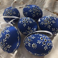 "Czech traditional Easter Eggs ""Kraslice"" (Moravia, Europe)-dark blue madeira"