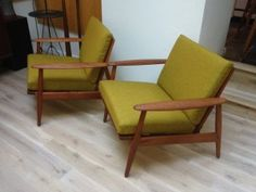 Gorgeous Pair of 1960's Teak Easy Chairs - exceptional design - all new straps - natural latex foam and newly upholstered in a Magnificent wool by Kvadrat - Denmark - $3300/Pair