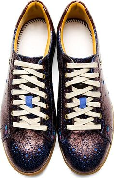 Paul Smith Jeans - Aubergine Crackled Leather Sneakers | SSENSE