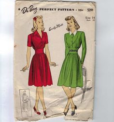 1940s Vintage Sewing Pattern DuBarry 5391 by historicallypatterns, $23.00