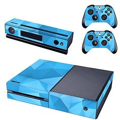 UUShop Protective Vinyl Skin Decal Cover for Microsoft Xbox One Console wrap sticker skins with two Free wireless controller decals Classic Blue Retro >>> Click image for more details.