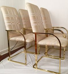 These would be stunning in blue velvet fabric. Beautiful vintage set of four dining arm chairs by Design Institute Of America DIA, design attributed to Milo Baughman. Hollywood Regency, Modern,