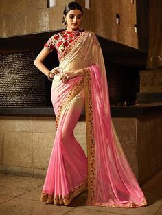 Cream and Pink Shimmer Georgette Saree with Embroidery Work