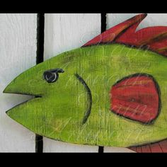 Primitive Folk Art Red and Green Fish Plywood Cutout Wood Funky
