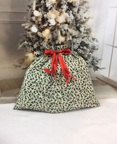 Christmas Gift Bags Flannelette Candy Bags with Drawstring Ornaments