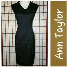 Ann Taylor LBD! Fabulously chic LBD from Ann Taylor.  Back zipper.  Pockets.  Fully lined.  Sz 6Petite.  Measurements lying flat armpit to armpit 17in, waist 15in, length shoulder to hem 34in.  Excellent condition.  No stains or tears .  From smoke free home. Ann Taylor Dresses