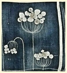 Detail from cushion denim and pearl button umbells Flower Embroidery Designs, Hand Embroidery Patterns, Embroidery Stitches, Sewing Art, Sewing Crafts, Sewing Projects, Denim Crafts, Button Crafts, Fabric Art