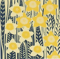 """""""She turned to the sunlight And shook her yellow head, And whispered to her neighbour: """"Winter is dead."""" ― Excerpt from """"Daffodowndilly"""" by A. Milne (Image: """"Daffodils"""" by Emma Hardicker) Textile Patterns, Textile Prints, Print Patterns, Pattern Ideas, Textile Design, Floral Prints, Silk Screen Printing, Printing On Fabric, Zentangle"""