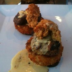 Fried Oyster, filet mignon, fried cheese grit, and grilled eggplant   Cobalt in Orange Beach, AL