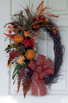 Fall Grapevine Wreath  CLICK HERE FOR MORE DESIGNS https://www.etsy.com/shop/PataylaFloralDesigns?ref=si_shop