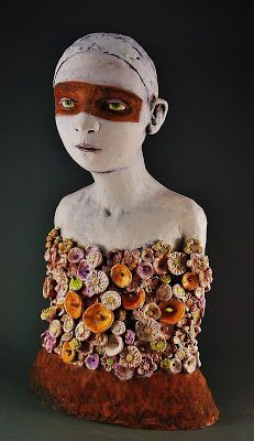 'Clay & Persimmons' by Charlene Doiron Reinhart. Ceramic Figures, Clay Figures, Ceramic Art, Pottery Sculpture, Sculpture Clay, Sculptures Céramiques, 3d Fantasy, Paperclay, Modern Sculpture