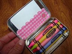 Altoid box turned into an on-the go crayon box! Perfect addition to the diaper bag!    ***Did this, using a tin gift card holder instead b/c it holds more crayons. It works perfectly & has been a lifesaver when going out to eat!