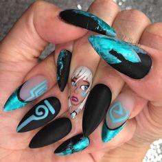 ✨💎Disney's ATLANTiS 💎✨ Handpainted gel nail art- The symbols glow … Nail Art Disney, Disney Acrylic Nails, Disney Nail Designs, Halloween Nail Designs, Cute Acrylic Nails, Halloween Nails, Crazy Nail Art, Crazy Nails, Dope Nails
