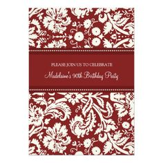 Red Damask 90th Birthday Party Invitations