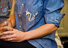 Monogram Denim Button Down Shirt w/ Girly Antler Design, Bridesmaid Chambray Oversized Shirt