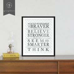 Always Remember You are Braver than you Believe Art Print / DIY Printable on Etsy, $6.99