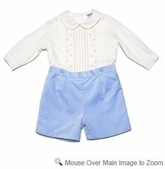 Luli & Me Baby Boys Ice Blue Velvet Shorts Button On Dressy Outfit