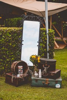 Leave a message for the love of your life or your guests and use the vintage hat box to keep your ceremony programs. All available from Remember When Vintage Prop Hire. Photo by Bonnie Jenkins Photography.