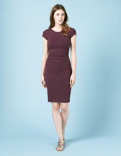 Kleid mit Raffung WH864 Kleider bei Boden
