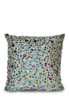 Thro Home  Peacock All Over Gemstone Pillow -