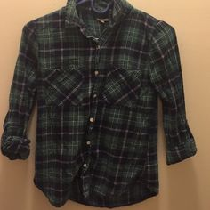 Green and baby plaid flannel Only worn a couple times---just too small for me Charlotte Russe Tops Button Down Shirts