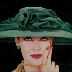 "1956 | Barbara Mullen | Chapéu Gilbert Orcel | Cap Gilbert Orcel | #barbaramullen #gilbertorcel…"""