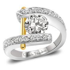 Claude Thibaudeau PLT-1786-MP - Trice Jewelers. Rose gold post instead :)