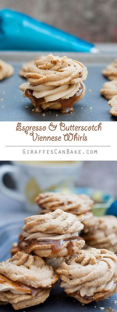 Melt in your mouth buttery espresso shortbread, sandwiched with espresso buttercream and butterscotch sauce. These viennese whirls are easy and delicious! Biscuit Cookies, Sandwich Cookies, Biscuit Recipe, Shortbread Cookies, Cake Cookies, Cupcakes, British Bake Off, British Baking, Baking Recipes