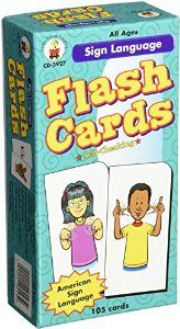 Flashcards make great teaching tools. These have a word on one side and the sign on the other one.