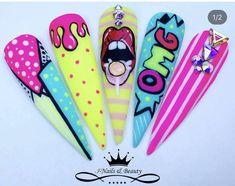 Cartoon Nail Designs, 3d Nail Designs, New Nail Art Design, Nail Art Designs Videos, Fingernail Designs, Ongles Pop Art, Pop Art Nails, Nail Pops, Nail Art Pen