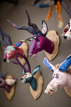 Scrap Fabric Taxidermy Busts