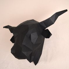 Salers Cow or Bulls Head Print & fold papercraft by Imprimables