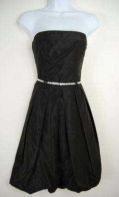 Zara Basic XS Strapless Taffeta Party Dress Black Stretch Back Silver Belt Prom #ZaraBasic #BallGown #Cocktail