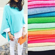 The perfect transition piece! Our cotton cashmere capes are $88 and come in all these bright fun colors! Come get yours before they are all gone! #RundontWalk #CharlottesStyle