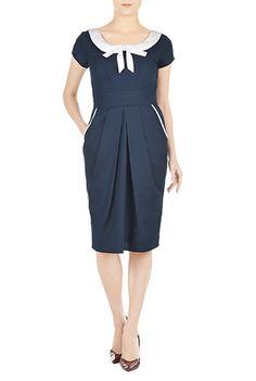 #Contrast #bow-tie sheath dress from eShakti
