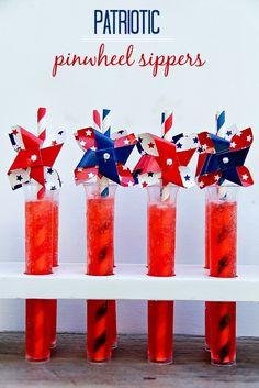 Patriotic Pinwheel Fruit Juice Sippers #KoolOff #Shop #Client