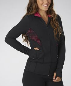 Look at this #zulilyfind! Black & Wildberry Jaded Vision Zip-Up Track Jacket #zulilyfinds