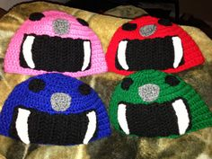Crocheted Beanie Resembles Power Rangers by DonishDesigns on Etsy, $21.00